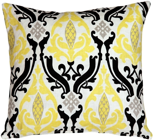 Primary image for Pillow Decor - Linen Damask Print Yellow Black 16x16 Throw Pillow