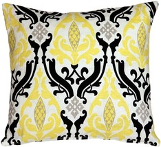 Pillow Decor - Linen Damask Print Yellow Black 16x16 Throw Pillow - £34.31 GBP