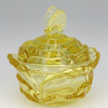 Fenton Art Glass Candleglow Yellow Cabbage Rose Butterfly 9280 Candy Box c1983
