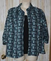 Womens Black Blue Print Notations 3/4 Sleeve Shirt Size 2X excellent - $7.91