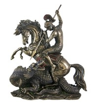 12.5 Inch Statue of Saint St George Dragon Slayer San Jorge Santo Collectible - $108.00