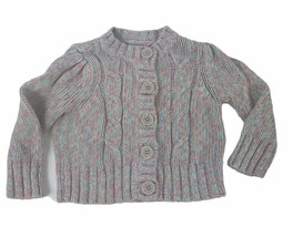 Cherokee Girl's Knit Sweater 12 Months Button Up Gray Pink Blue - $9.90