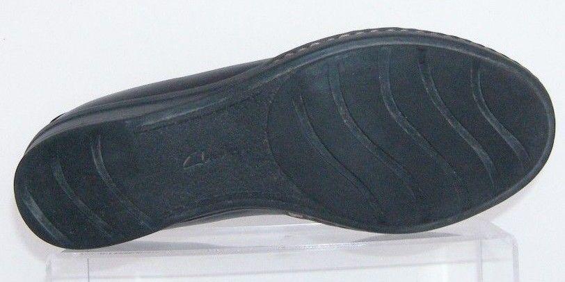 Clarks Bendables 'Recent Dutchess' black leather round toe slip on flats 7.5M