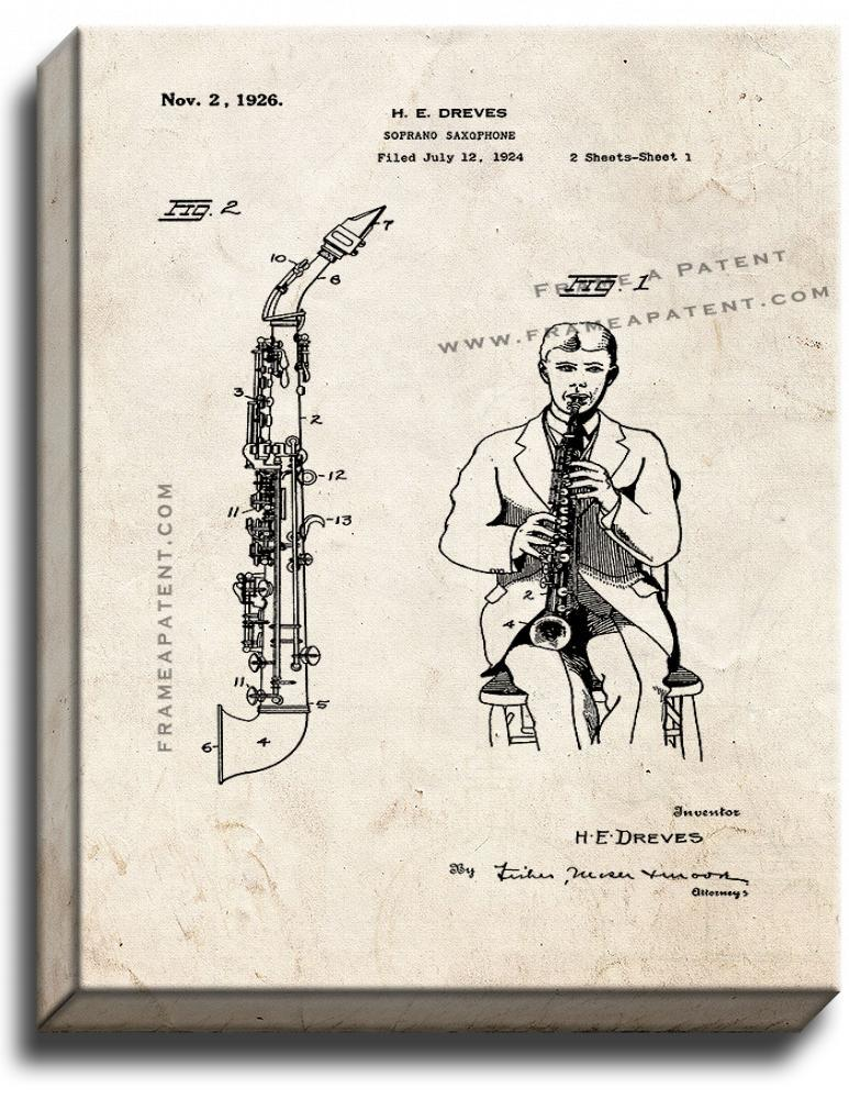Primary image for Soprano Saxophone Patent Print Old Look on Canvas