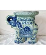 Bombay Company Large Jade Green Celadon and Blue Elephant Plant Stand Di... - $156.70