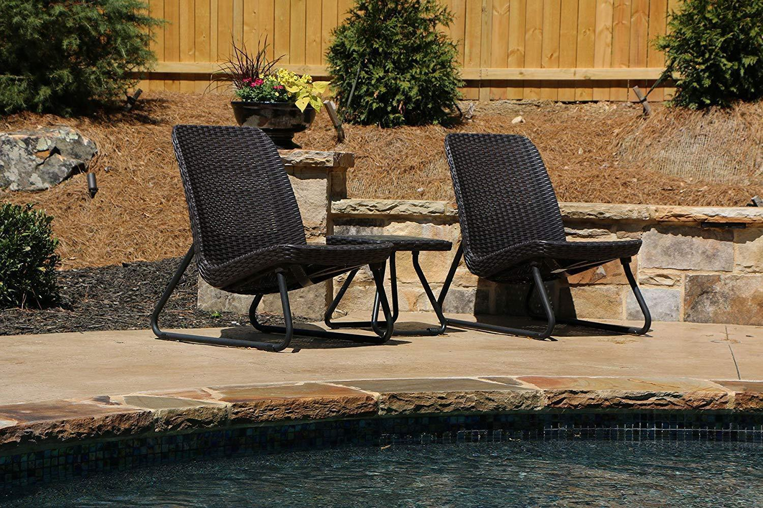 Set of 3 Pc All Weather Furniture Patio Garden Stylish Rattan Design Comfort