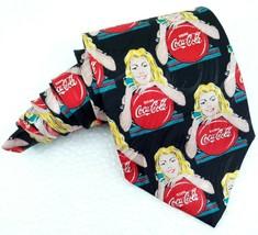 """Coca-cola black necktie NEW vintage 3,9 """" silk Made in Italy coca cola c... - $26.00"""
