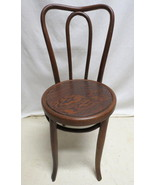 Antique Set 3 Bentwood Ice Cream Parlor Chairs Round Oak Seat Pub Kitche... - $148.45