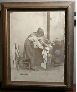 VINTAGE PICTURE ARTIST R HENDRICKSON FRAMED WOMAN/MOTHER GIRL/DAUGHTER W... - $30.00