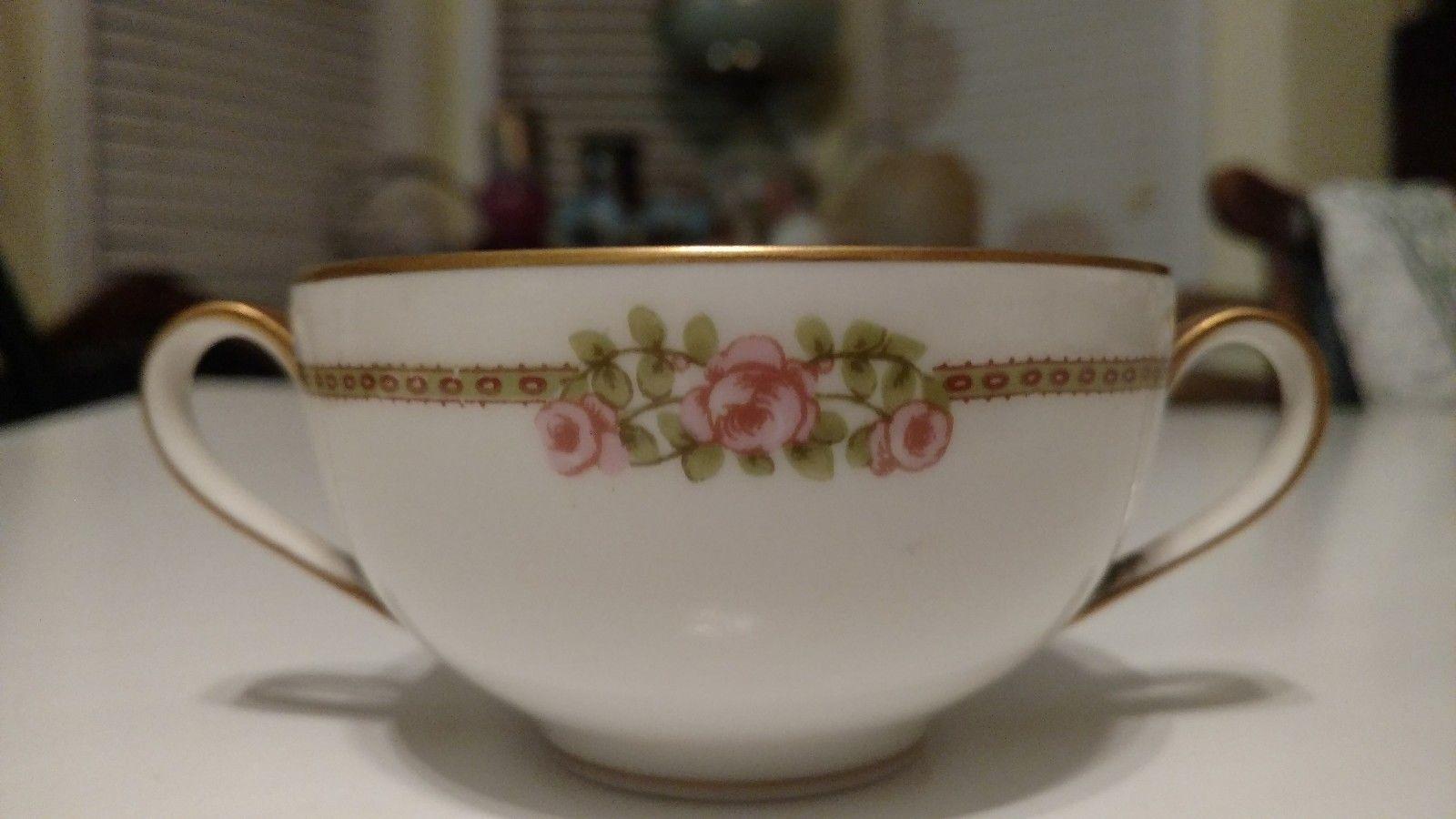 Vintage Antique Theodore Havilland Limoges France Creme Soup Bowl Pink Roses MNT - $16.69