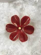 1960s SANDOR Co. Gold tone Red Enameled Flower Brooch - $15.00