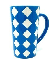 Blue with White / Gray Diamond Tall Coffee Mug by Mulberry Home Collections - $14.15
