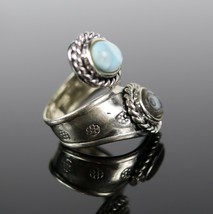 Vintage .925 Sterling Silver Signed CFJ Wrapped Abalone Roped Size 7 Ring 10.4g - $36.62