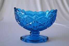 Kemple Glass Toltec Blue Pedestal Fruit Bowl Compote - $22.28