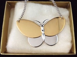 """1977 Butterfly Pendant Choker Necklace 14"""" Glossy Gold & Silver Tone Ret... - $9.84"""