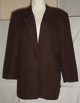 Primary image for BRIGGS of NEW YORK chocolate, fully lined, padded, 2-pocket, career blazer 12