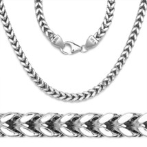 14K White Gold Plated 925 Sterling Silver Box Franco Italy Chain Necklac... - $49.07+