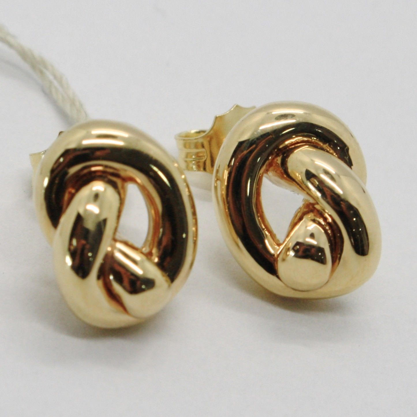 18K YELLOW GOLD KNOT EARRINGS, INFINITE, INFINITY, ROUNDED, MADE IN ITALY