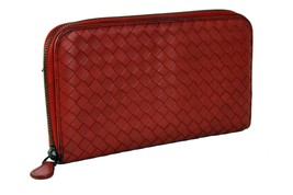 Auth BOTTEGA VENETA Red Intrecciato Leather Zip Around Long Wallet Purse... - $335.61