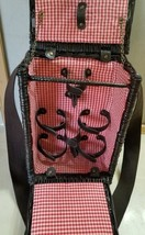 Wicker Wine Picnic Basket Shoulder Strap Red Plaid Checks Lining - $19.99