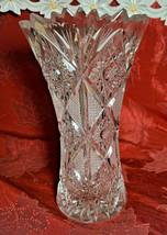 """Vintage Cut Starburst Lead Crystal Vase Bohemia Crystal 1997 8"""" x 5"""" 24% PSO"""