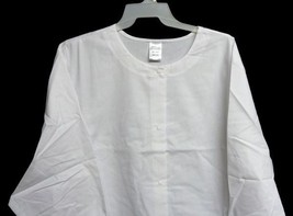 White Warm Up Jacket 3XL Unbranded Womens Snap Front Round Neck Scrubs New - $21.31