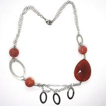 925 Silber Halskette, Karneol Rot Tropf, Achat Gescheckt, Ovale Anhänger image 2