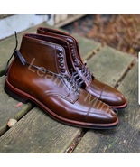 Men's Handmade Brown Leather Derby Dress Boots Best Formal Boots For Men - $179.99+