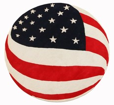 New US Flag Round 5'x5' ft Contemporary Handmade Tufted 100% Woolen Area... - $157.41