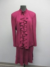 ST. JOHN Purple Long Sleeve Blazer Sz 12 A Line Knee Length Skirt Sz 10 ... - $296.99