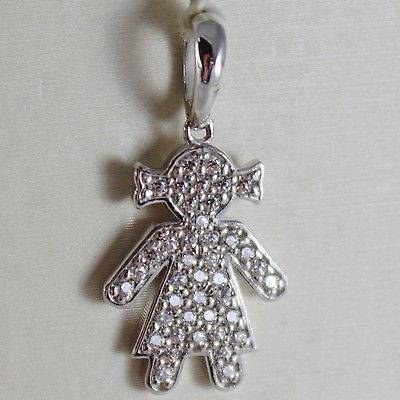 18K WHITE GOLD GIRL PENDANT, BABY, LENGTH 0.98 INCHES, ZIRCONIA, MADE IN ITALY