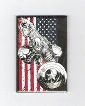 Marvel's Captain America Figure And Flag Image Refrigerator Magnet, NEW ... - $3.99