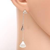 Silver Tone Designer Drop Earrings with Dangling Chain & Shell Shaped Ac... - $15.99