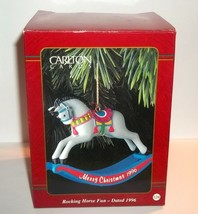 1996 ROCKING HORSE FUN Carlton Cards Dated Christmas Ornament #124 Mint in Box - $14.84