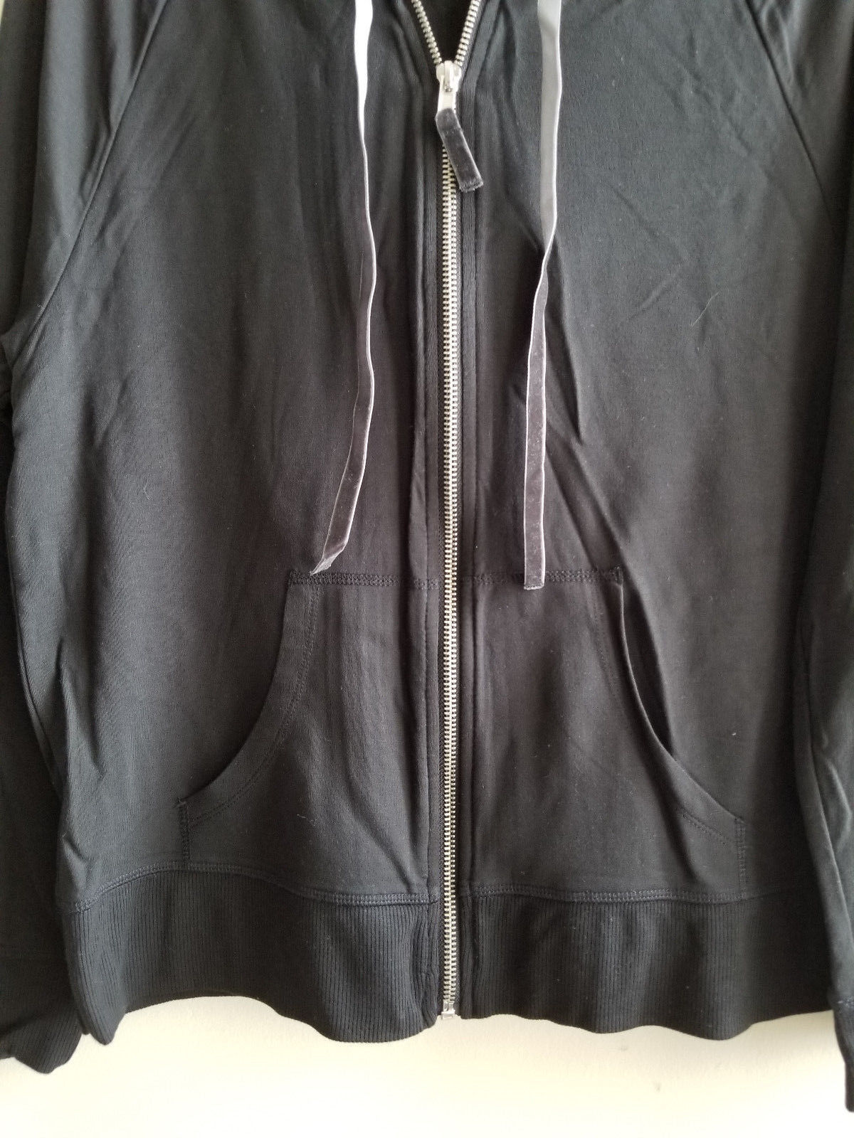 Victoria's Secret Lounge Zip Hoodie, Viscose, Black, Size M, NWT