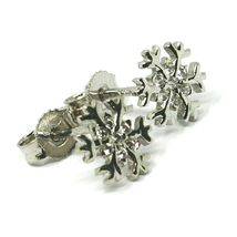 SOLID 18K WHITE GOLD EARRINGS FLAT SNOWFLAKE, SHINY, SMOOTH, 9 MM CUBIC ZIRCONIA image 3