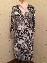 Peter Nygard Animal Print Wrap Dress - Size Petite Medium - NWT - £22.68 GBP