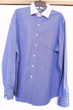 Polo Ralph Lauren Regent Dress Shirt Blue Pin Striped Custom Fit Men's 18 36/37 - $46.95