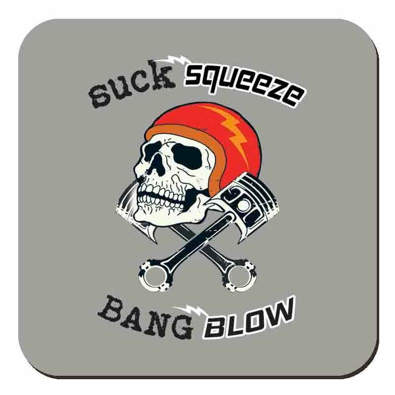 Primary image for Suck Squeeze Bang Blow Skull & Piston Motorbike Drinks Table Coaster