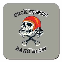 Suck Squeeze Bang Blow Skull & Piston Motorbike Drinks Table Coaster - $3.34