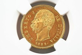 1882 Italian 20 Lire Gold Coin MS-63 1882R Italy G20L NGC Certified MS63 - $742.47