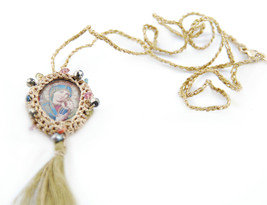 Medalitas Women`s Saints Knit Necklace Maria With Jesus Fringe Details B... - $114.19