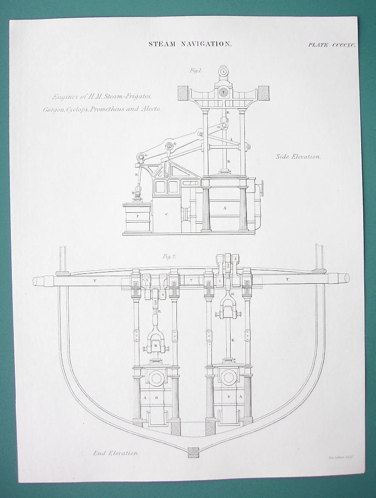 STEAM NAVIGATION Marine Engines for H.M. Cyclops - 1840 Fine Quality Print