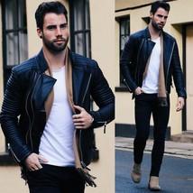 Mens Pure Lambskin Black Leather Jacket Motorcycle New Slim Fit Biker Ja... - $131.83
