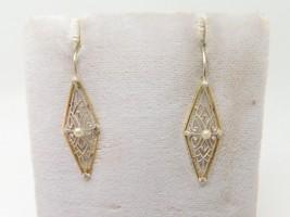14k Yellow and White Gold Filigree Earrings (#J3830) - $363.38