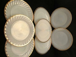 """Fire King Milk Glass 8 Salad Plates or Bread Plates 7-5/8""""  Gold Edging ... - $43.56"""