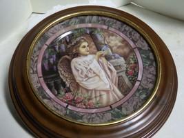 "Bradford Exc. ""CHARITY"" 1993 Gardens of Innocence Angel Plate w/ Wooden Frame - $59.40"