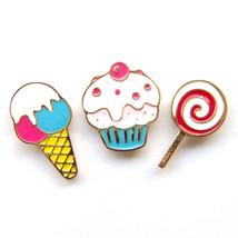 3pcs Brooch Lapel Pin Dessert Cake Ice Cream Lollipop Red Blue Pink Sweet Gift - $8.99