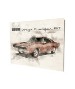 1968 Red Dodge Charger R/T Muscle Car Water Color Design 16x20 Aluminum ... - $59.35