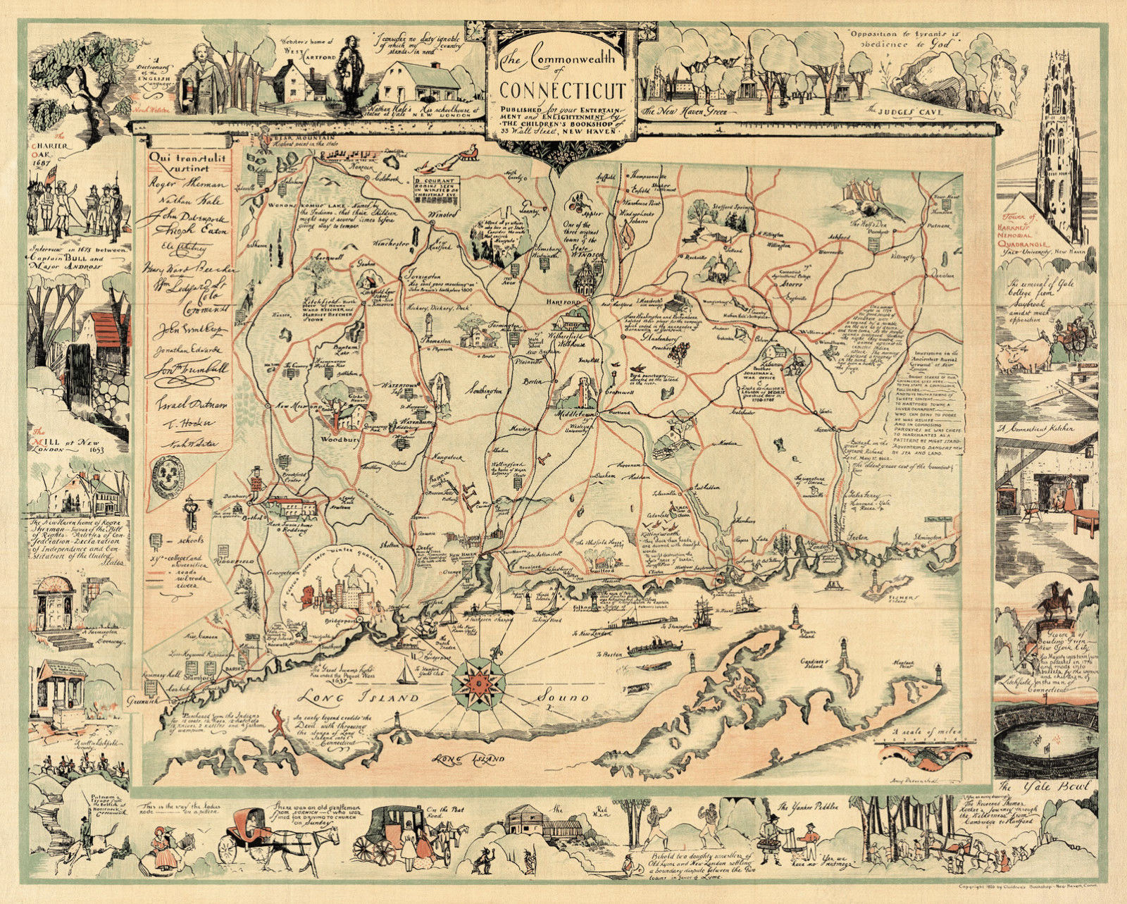 1921 Pictorial Map of New York City Historical Vintage Genealogy Wall Art Poster
